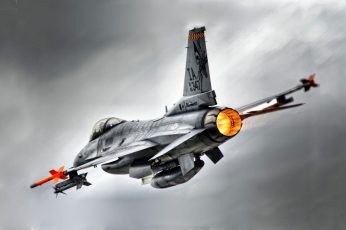 Wallpaper Gray Jet Plane, General Dynamics F 16 Fighting