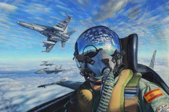 Wallpaper Jet Pilot Illustration, Gray Jet Fighter, Military