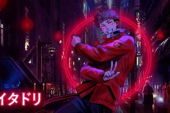 Wallpaper Jujutsu Kaisen, Yuji Itadori, Red Eyes, Glowing