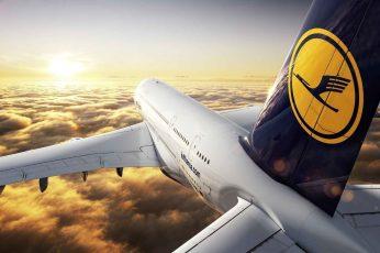 Wallpaper Luftansa Airplane, Logo, Sky, Flying, Airbus A