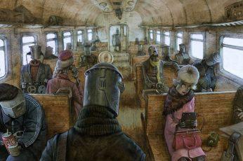 Wallpaper People Inside Bus Illustration, Artwork, Robot