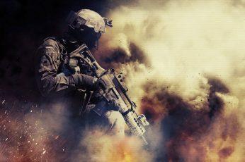 Wallpaper Person Holding Assault Rifle, War, Battlefield