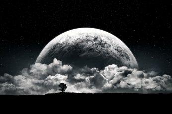 Wallpaper Planet, Moon, Clouds, Stars, Night, Black, White