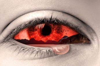 Wallpaper Red Eye With Tears Photo, Manipulation, Art, Sad