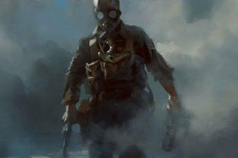 Wallpaper Revolver, Gas Masks, Soldier, Smoke, Video Games