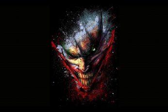 Wallpaper The Joker Painting, Batman, Red, Black Color