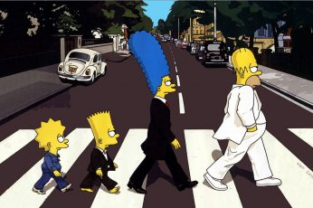 Wallpaper The Simpsons, Lisa, Bart, Marget, The Beatles