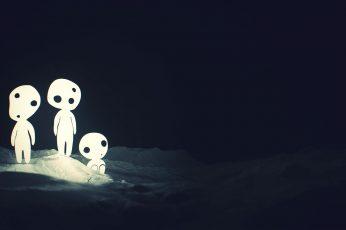 Wallpaper Three White Ghost Illustration, Digital Art