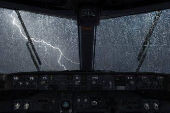 Wallpaper Vehicle Control Panel, Airplane, Lightning, Rain