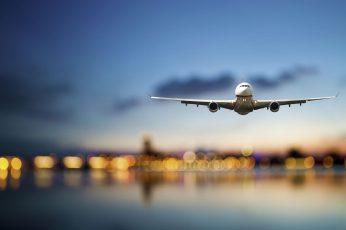 Wallpaper White Airliner, Tilt Shift Lens Photography