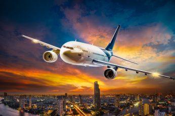 Wallpaper White Passenger Plane, The Sky, Clouds, Flight