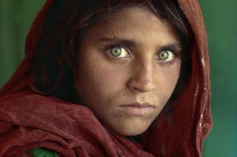 Wallpaper Woman Wearing Red Hijab Head Dress, Afghan Girl