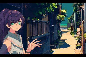 Wallpaper 焦茶, Anime Girls, Street