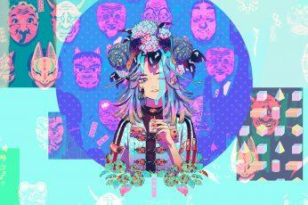 Wallpaper Akiakane, Oni Mask, Original Characters, Snail
