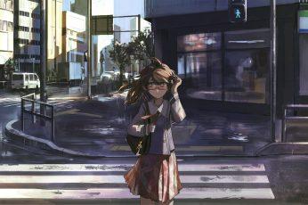 Wallpaper Anime, Anime Girls, City, Long Hair, Brunette