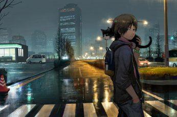 Wallpaper Anime Boy, Cat, Street, Buildings, Night