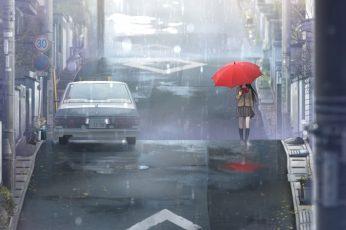 Wallpaper Anime Girls, Aozaki Aoko, Umbrella, Schoolgirl