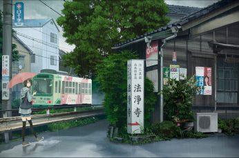 Wallpaper Anime Girls, City, Street