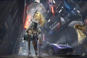 Wallpaper Anime Girls, Original Characters, Blonde, Cyborg