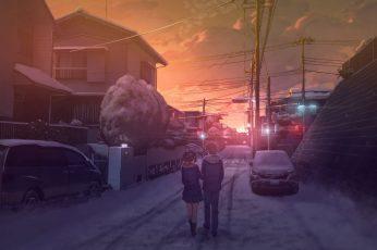Wallpaper Anime Landscape, Scenic, Snow, Couple, School