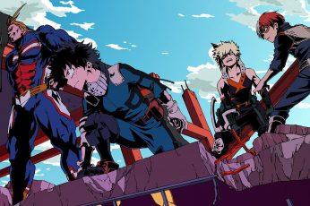 Wallpaper Anime, My Hero Academia, All Might, Black Hair