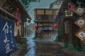Wallpaper Anime, Original, House, Rain, Street