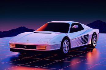 Wallpaper Auto, White, Neon, Machine, Background, Ferrari