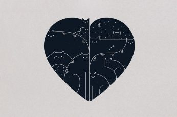 Wallpaper Black And White Heart Illustration, Minimalism