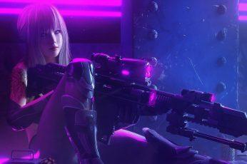 Wallpaper Black Assault Rifle, Sniper Rifle, Long Hair, Neon