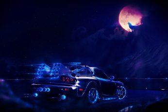 Wallpaper Black Car Art, Back To The Future, Machine