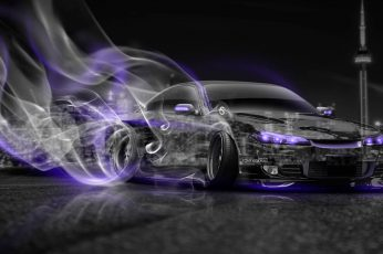 Wallpaper Black Sports Car, Night, The City, Smoke, Neon