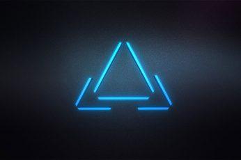 Wallpaper Blue Triangle Logo, Digital Art, Minimalism, Ill