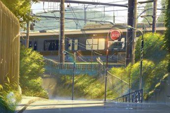 Wallpaper Brown And Gray Train, Anime, Street, Urban