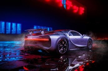 Wallpaper Bugatti Chiron Neon Lights