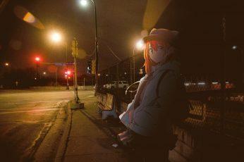 Wallpaper Bus Stations, Anime Girls, Urban, Night, Street