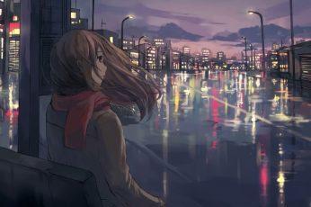 Wallpaper City, Metropolis, River, Night, Evening, Sky