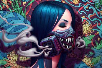 Wallpaper Cyberpunk, Gas Masks, Artwork, Painting, Oni Mask