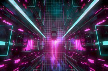 Wallpaper David Legnon, Cyberpunk, Car, Traces, Neon Glow