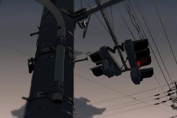 Wallpaper Electrical Post Illustration, Anime, Street Light