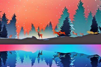 Wallpaper Forest, Minimalist, Lake, Reflection, Pine Trees
