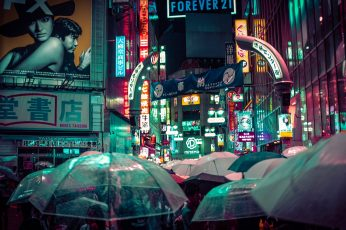 Wallpaper Forever 21 Logo, Japan, Tokyo, Crowds, Night, City, Neon