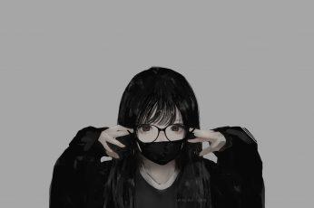 Wallpaper Glasses, Minimalism, Monochrome, Mask, Aoi Ogata