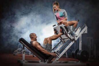 Wallpaper Gray Gym Equipment, Legs, Couple, Workout