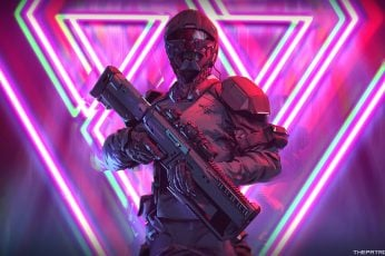 Wallpaper Halo Character, Neon, Weapon, Soldier, Futuristic