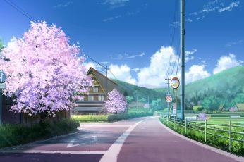 Wallpaper Japan, Anime, Clouds, Street, House, Sakura