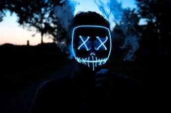 Wallpaper Man Wearing Led Mask, Neon Light Mask On Person