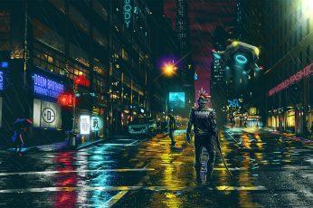 Wallpaper Man With Sword Illustration, Game Poster, Dark City