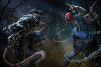 Wallpaper Marvel Comics, Spider Man, Venom, Artwork
