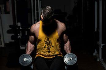 Wallpaper Mens Yellow Tank Top, Muscles, Gym, Dumbbells,