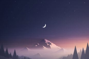 Wallpaper Mountain And Trees Under Starry Sky Illustration